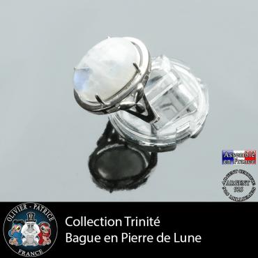 Bague Trinité en pierre de lune et argent 925