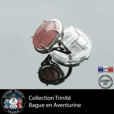 Bague Trinité en quartz fraise et argent 925