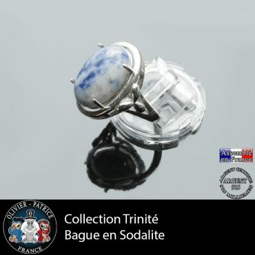 Bague Trinité en sodalite lisse et argent 925