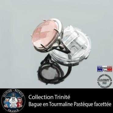 Bague Trinité en tourmaline rose pastèque et argent 925