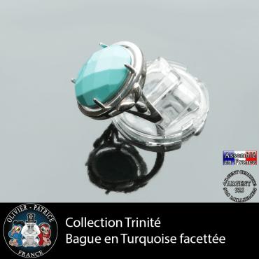 Bague Trinité en turquoise et argent 925