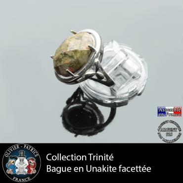 Bague Trinité en unakite et argent 925