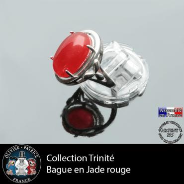 Bague Trinité en jade rouge et argent 925