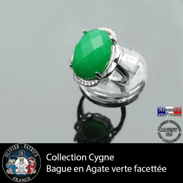 Bague Cygne en agate verte et argent 925