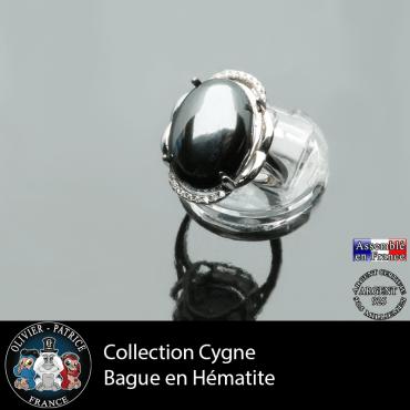 Bague Cygne en hématite et argent 925