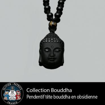 Pendentif petite tete de Bouddha en obsidienne