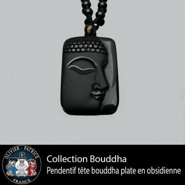 Pendentif plaque de Bouddha en obsidienne
