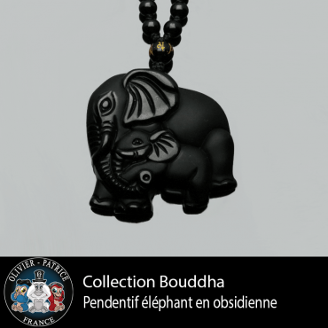 Pendentif éléphanteau et sa maman en obsidienne