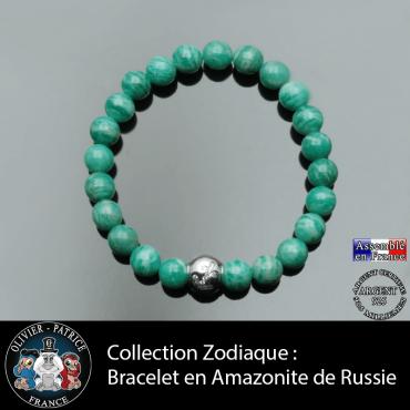 Bracelet amazonite russe et son signe astrologique boule zircon