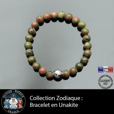 Bracelet unakite et son signe astrologique boule zircon