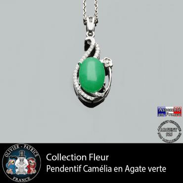 Pendentif Camélia en agate verte et argent 925 de notre collection fleur