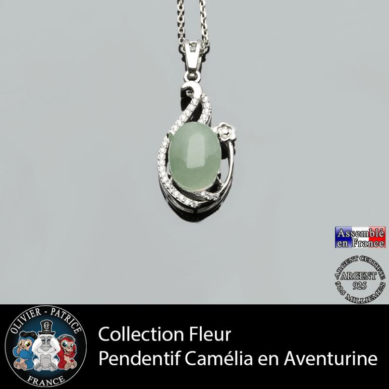 Pendentif Camélia collection fleur en aventurine verte et argent 925