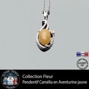 Pendentif Camélia en aventurine jaune et argent 925 issu de la collection fleur