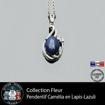 Pendentif Camélia en lapis lazuli et argent 925 au sein de la collection fleur