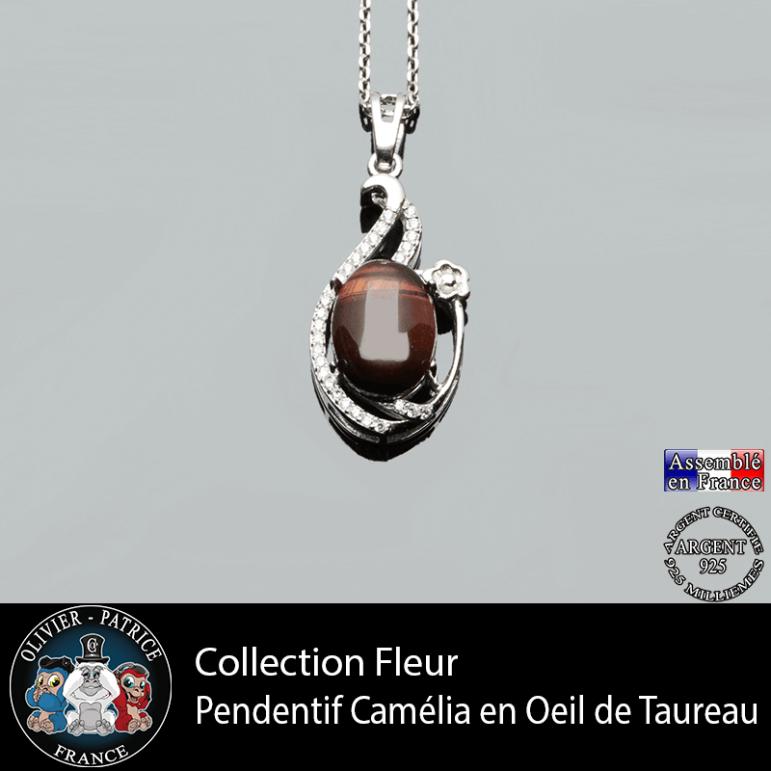 Pendentif Camélia en oeil de taureau et argent 925 collection fleur