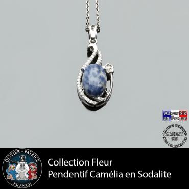 Pendentif Camélia en sodalite et argent 925 collection fleur