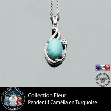 Pendentif Camélia en turquoise et argent 925 collection fleur