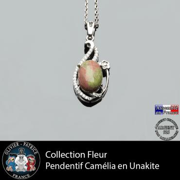 Pendentif Camélia en unakite et argent 925 collection fleur