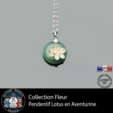 Collection fleur : pendentif lotus en aventurine verte