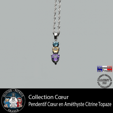 Collection coeur ; pendentif en améthyste, citrine et topaze naturelles et en argent 925