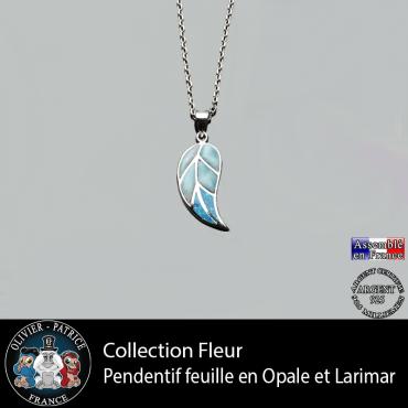 Pendentif feuille en larimar et opale en argent 925 avec sa chaine en argent