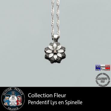 Collection fleur : pendentif lys en spinelle et quartz fumé