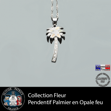 Collection fleur ; pendentif palmier en argent 925 et pierre naturelle opale feu