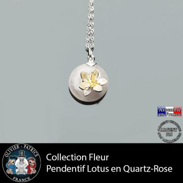 Collection fleur ; pendentif fleur de lotus en quartz rose naturel et argent 925