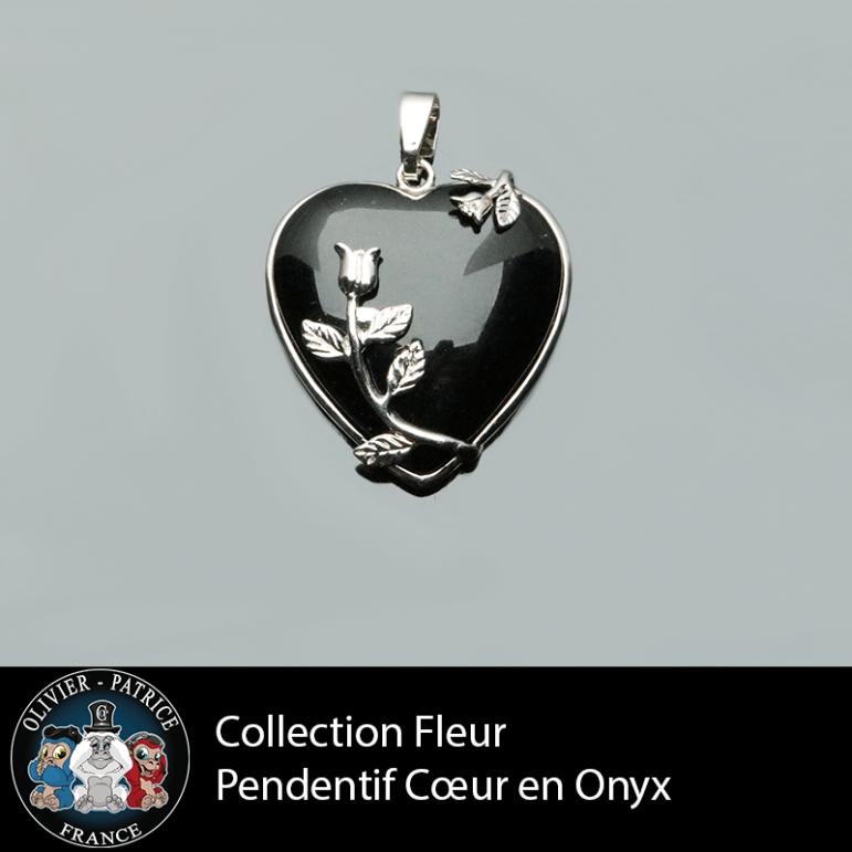 Collection fleur : pendentif coeur en onyx naturel