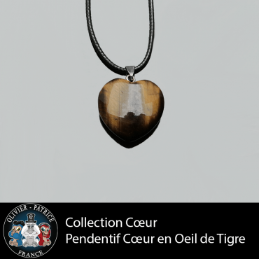 Pendentif oeil de tigre cœur en pierre naturelle pleine