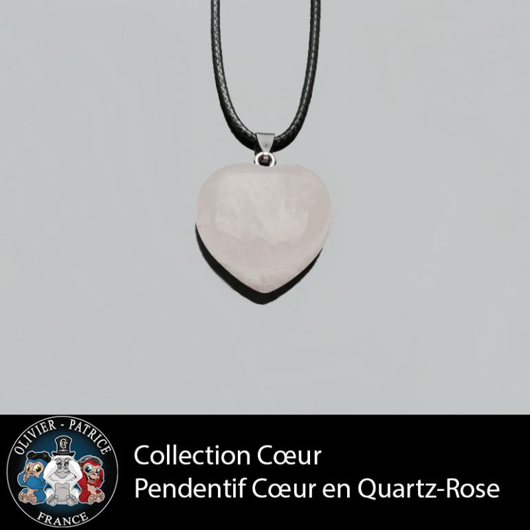 Pendentif quartz rose coeur en pierre naturelle