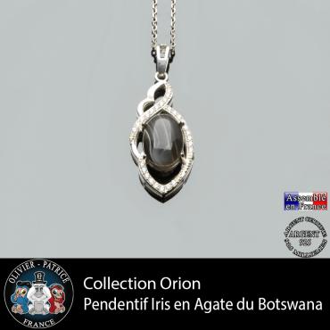 Collection Orion : Pendentif Iris en agate du Botswana