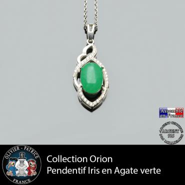 Collection Orion : Pendentif Iris en agate verte naturelle