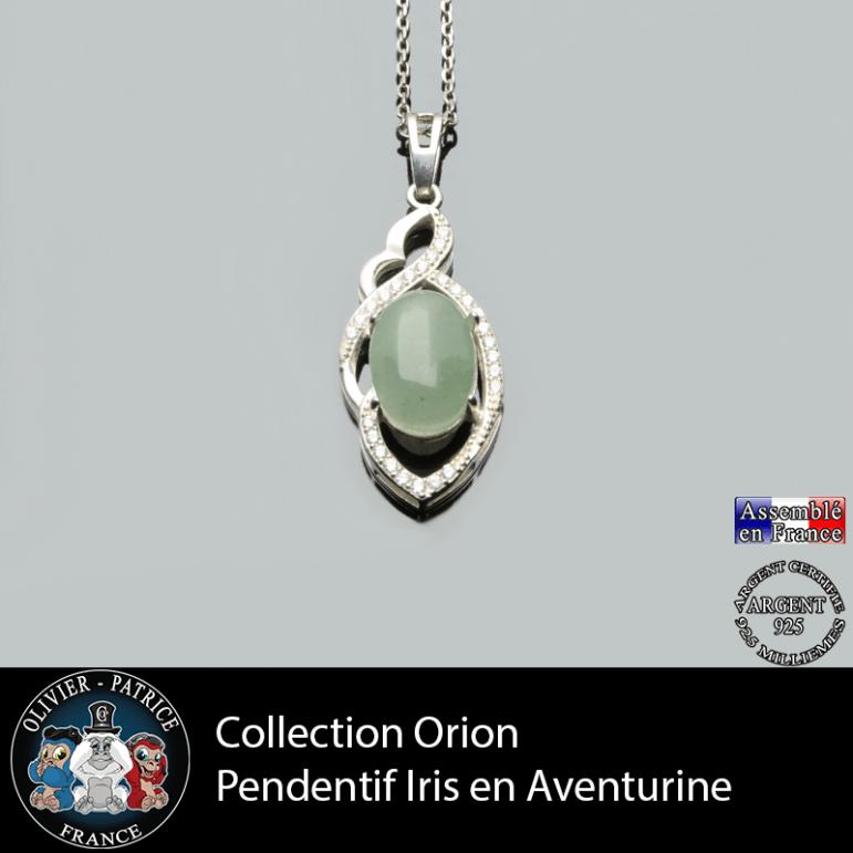 Collection Orion : Pendentif Iris en aventurine verte naturelle et argent 925
