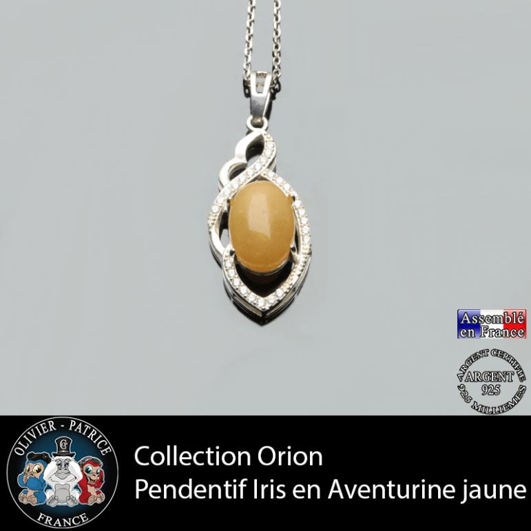 Collection Orion : Pendentif Iris en aventurine jaune naturelle et argent 925