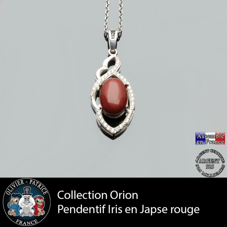 Collection Orion : Pendentif Iris en jaspe rouge naturel et argent 925
