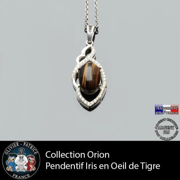 Collection Orion : Pendentif Iris en oeil de tigre