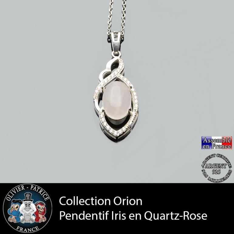 Collection Orion : Pendentif Iris en quartz rose et argent 925