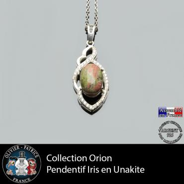 Collection orion ; le pendentif Iris en unakite naturelle et argent 925