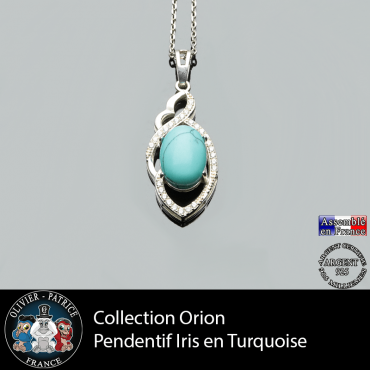 Collection Orion : Pendentif Iris en turquoise naturelle