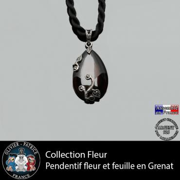 Collection fleur : pendentif de la parure en argent 925 et pierre de grenat