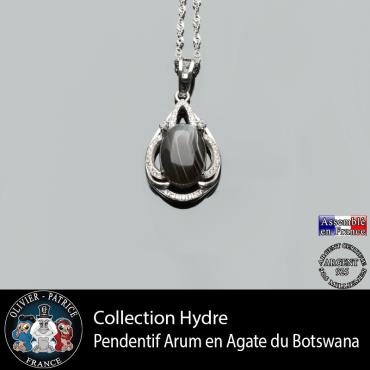 Collection Hydre : Pendentif Arum en agate du Botswana naturel et argent 925