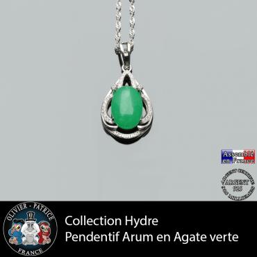 Collection Hydre : Pendentif Arum en agate verte naturelle et argent 925