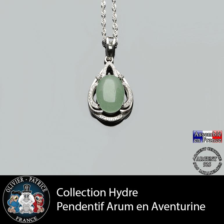 Collection Hydre : Pendentif Arum en aventurine verte naturelle et argent 925