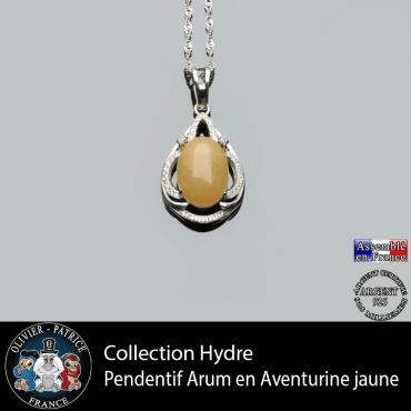 Collection Hydre : Pendentif Arum en aventurine jaune naturelle et argent 925