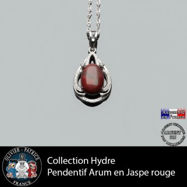 Collection Hydre : Pendentif Arum en jaspe rouge naturel et argent 925