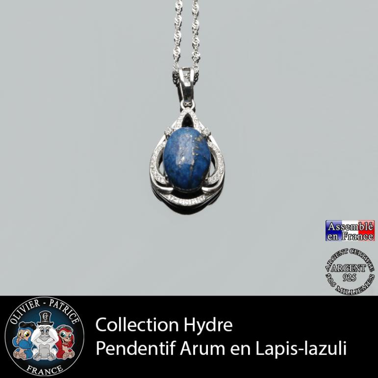 Collection Hydre : Pendentif Arum en lapis lazuli naturel et argent 925