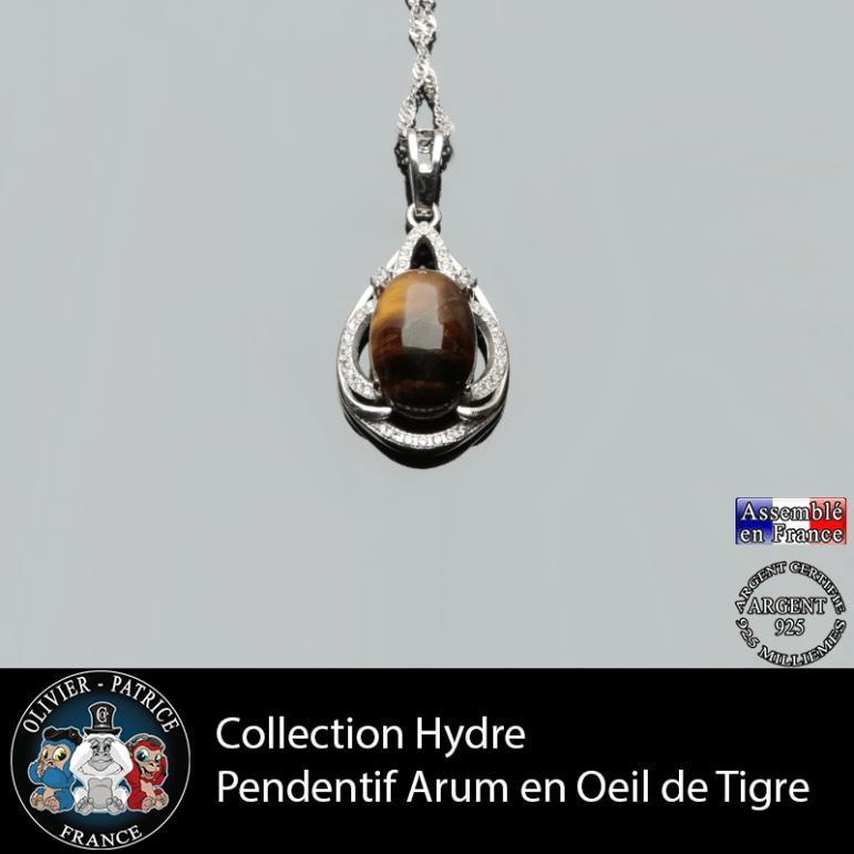 Collection Hydre : Pendentif Arum en oeil de tigre naturel et argent 925