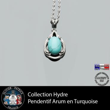 Collection Hydre : Pendentif Arum en turquoise naturel et argent 925