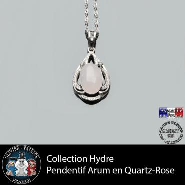 Collection Hydre : Pendentif Arum en  quartz rose naturel et argent 925